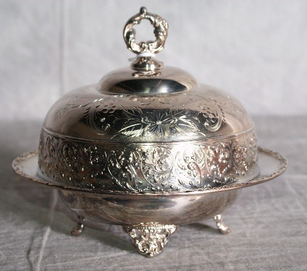16:  American silver plate repousse dome covered butter