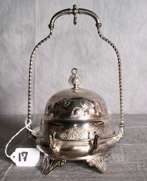 17:  American silver plate repousse dome covered butter