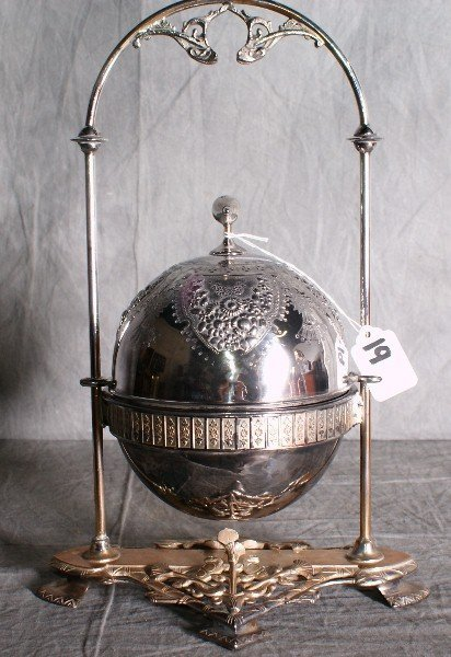 19:  Large American silver plate dome covered repousse