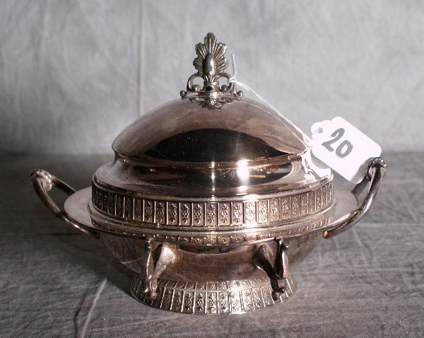 20:  American silver plate dome covered butter dish by