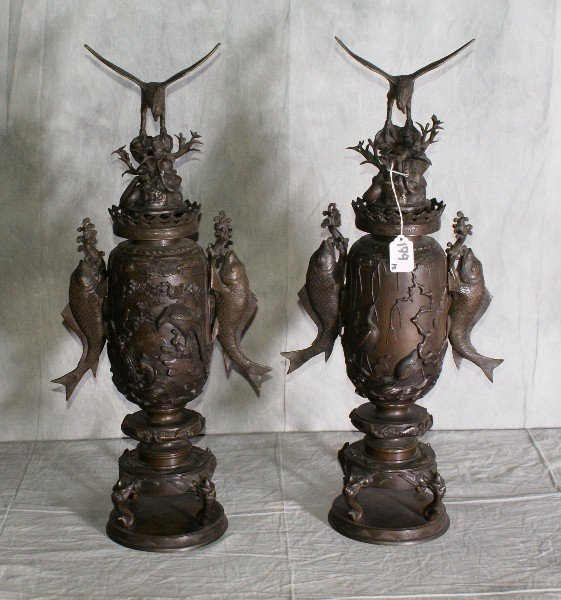 179:  Exceptional pair of 19th Chinese bronze figural t