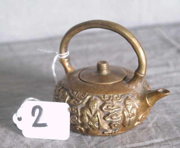 2: Antique chinese bronze teapot with chop mark on bott