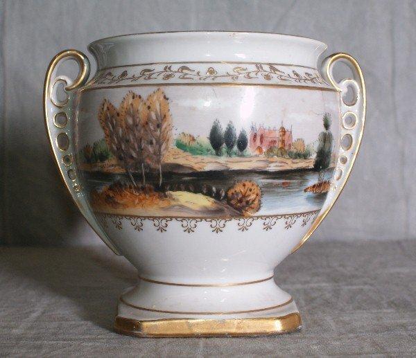 """3: Hand painted old paris porcelain cache pot. H:6"""" D:7"""