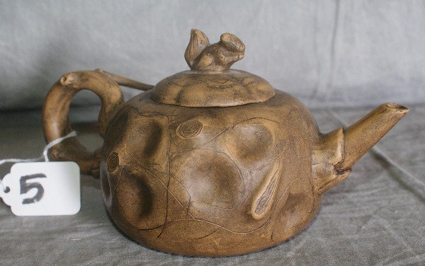 5: Antique Chinese pottery teapot with chop mark on bot