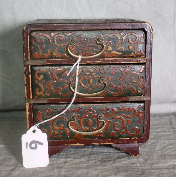 6: Antique Chinese laquered miniature 3 drawer chest .
