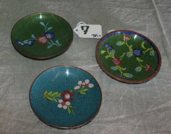 7: Three Chinese cloisonne plates. D:4""
