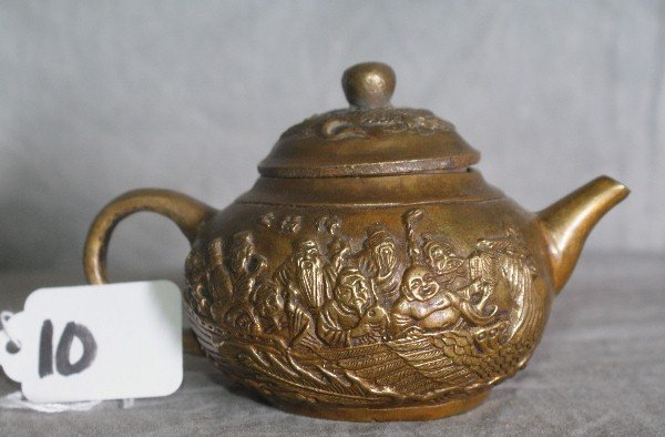 10: Antique Chinese repousse bronze teapot with chop ma