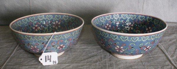 "14: pair 19th C Chinese porcelain bowls. H:3.5"" D:7"""
