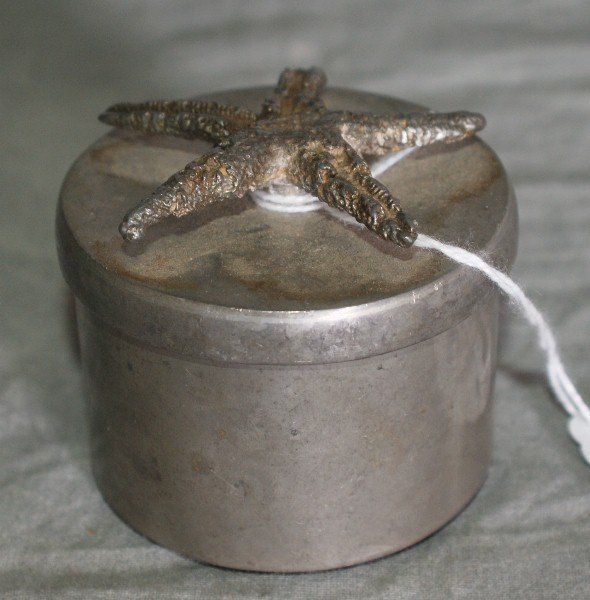 15: silver plate covered box with star fish top. H:2.5""