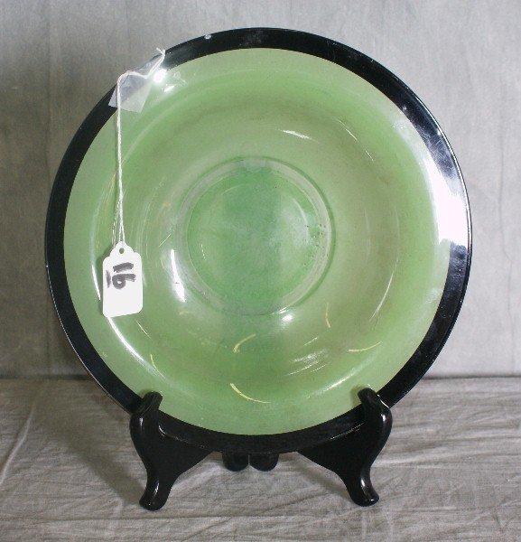 """16: Green Venetian glass bowl. D:10"""""""