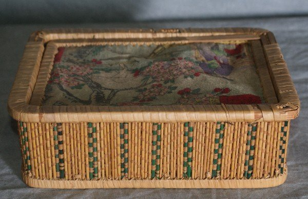 18: Chinese wicker box with material top and 2 inside s