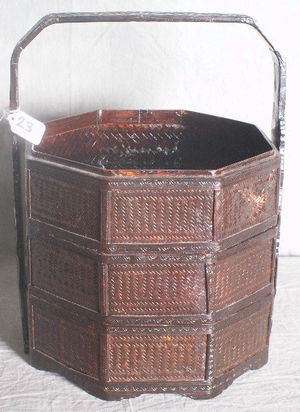 23: Chinese painted wicker 3 section stacking basket. H
