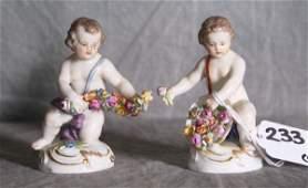 233 Pair of 19th C Meissen porcelain figures of childr