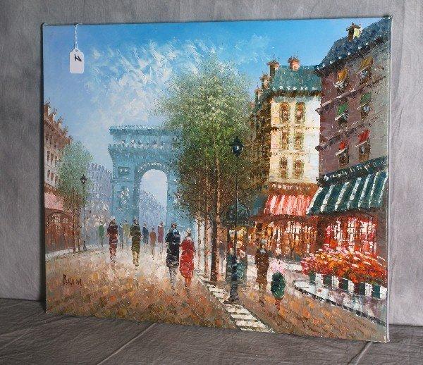 1:  20th C oil on canvas of a parisian street scene. H: