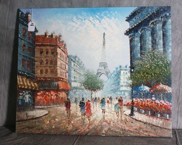4:  20th C oil on canvas of parisian street scene. H:20
