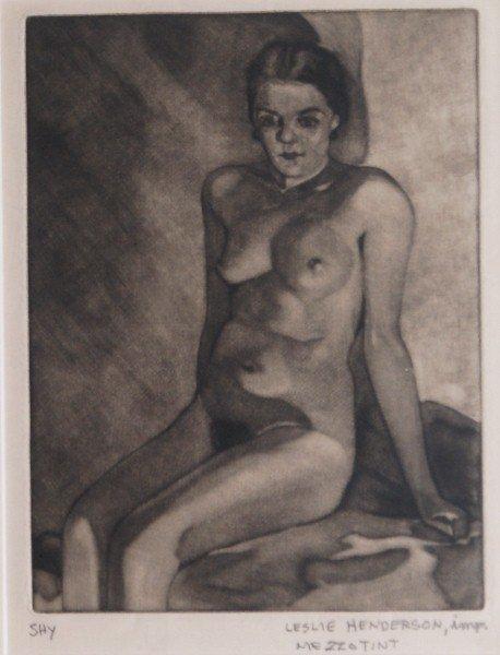 6:  19th C framed mezzotint of a nude signed Leslie Hen