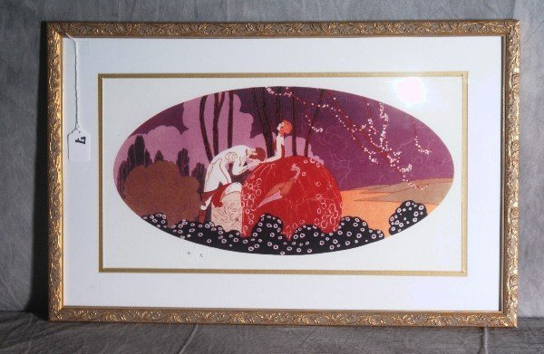 7: Framed  print  with a Paris London raised seal.