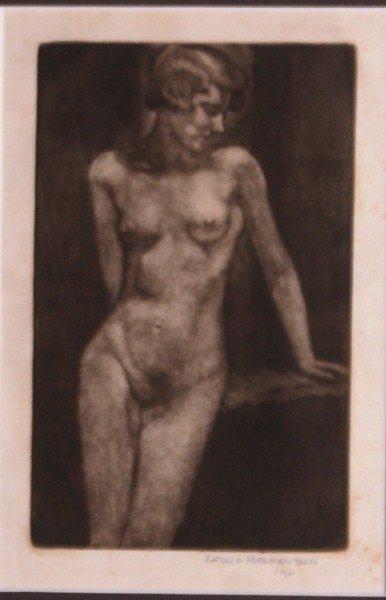 9: Framed Mezzotint of nude .