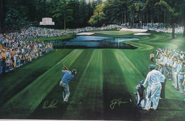 10: Framed golf print of Arnold Palmer and Jack Nicklau