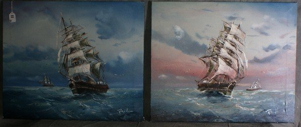 11: Pair 20th C oil on canvas paintings of ships at sea