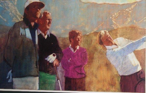 13: Framed print of golfers.