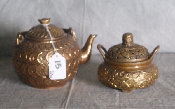 15: Two Chinese bronze teapots with chop marks on botto