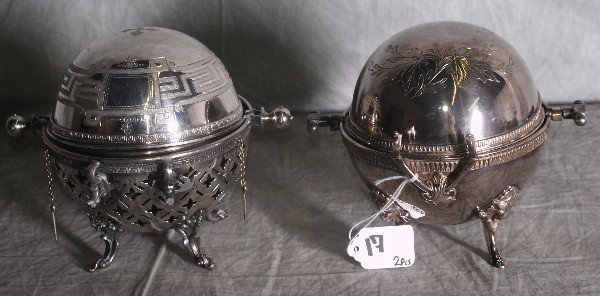 17: Two American silver plate dome covered butter dishe