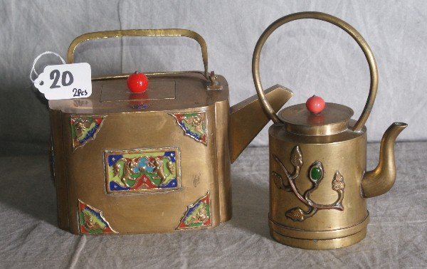 20: Two Chinese bronze and enamel teapots.
