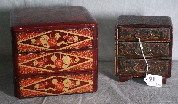 21: Two Antique Chinese laquered jewelry boxes.