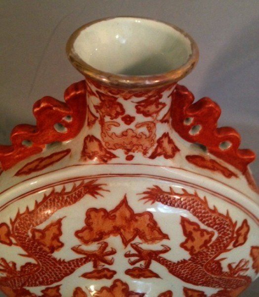 160C: Chinese porcelain moon flask vase - 4