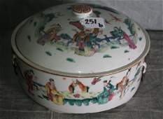 159C: Large 19th c Chinese porcelain covered bowl with