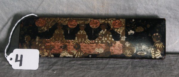 19th C Chinese laquered caligraphy box with ivory handl