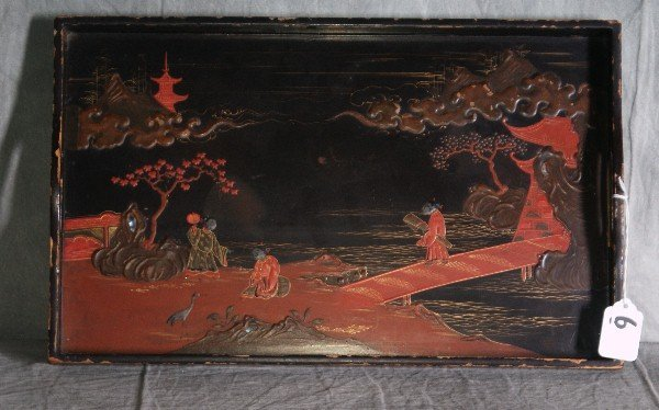 """19th C Chinese laquered serving tray. L:16.5"""" W:10.25"""""""