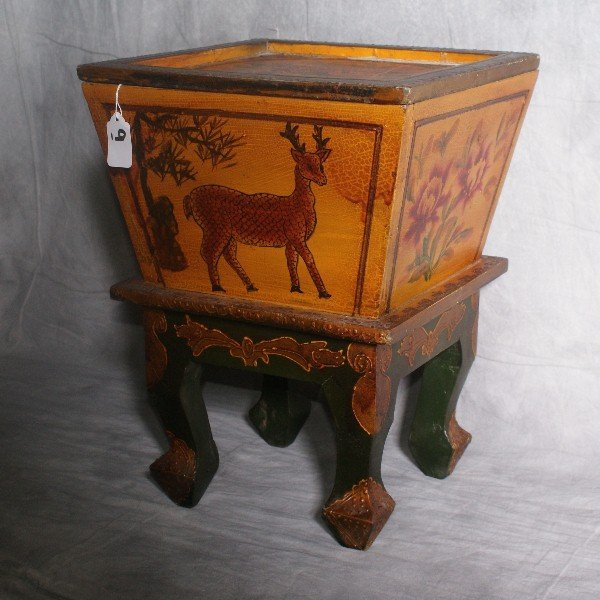 """oriental painted wood covered box on 4 legs. H:16"""" W:12"""