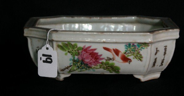 """19th c Chinese porcelain footed planter. H:3"""" L:8.5"""" W:"""