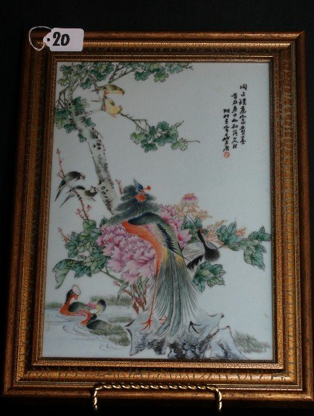 Republic period Chinese porcelain plaque in a wood fram