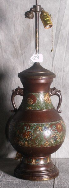 19th C Chinese bronze and champleve 2 handled urn mount