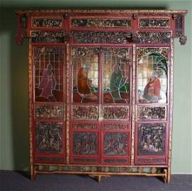 Large Chinese 19th c museum quality heavily carved parc