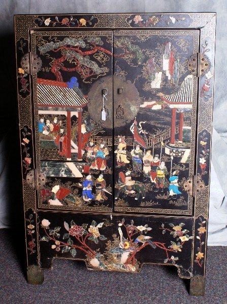 Ming Period fabulous Chinese hardstone inlaid 2 door ca