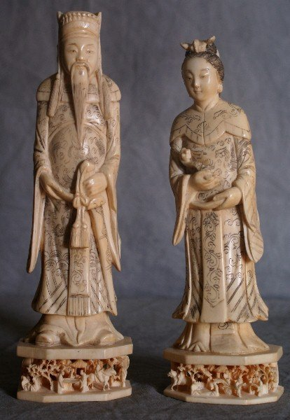 Pair of unusual 19th C Chinese Ivory figures.