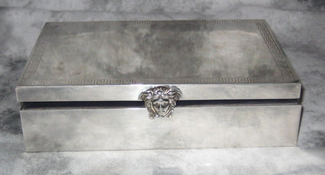 Versace sterling silver box with engraved Greek key