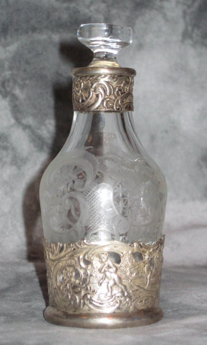 Small Dutch sterling silver and etched glass bottle