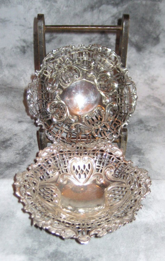 Pair of London sterling silver reticulated dishes wi