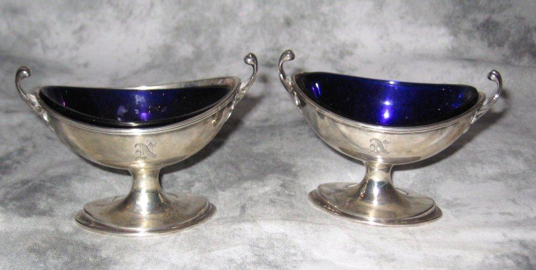 Pair of Birmingham sterling silver salt cellars with