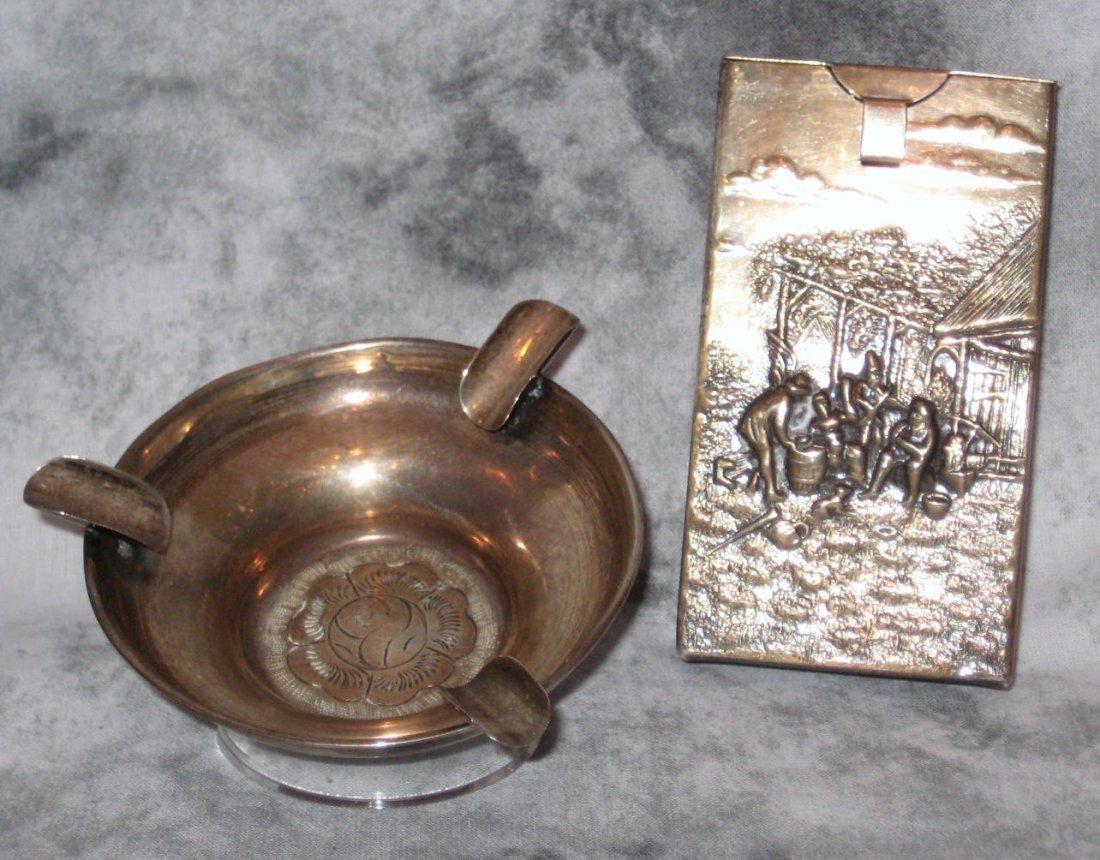 Two silver smoking related articles, a Dutch silver