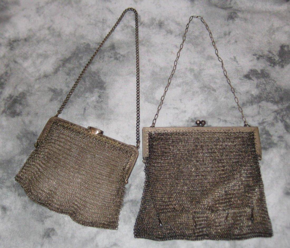 Two German silver mesh purses, marked German Silver