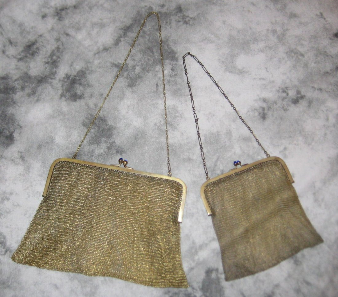 Two mesh purses, marked Soldered Mesh with blue cab