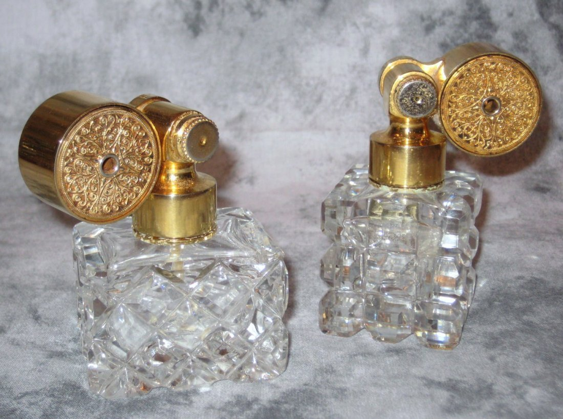 Two Marcel Franck Baccarat style crystal Escale perfume