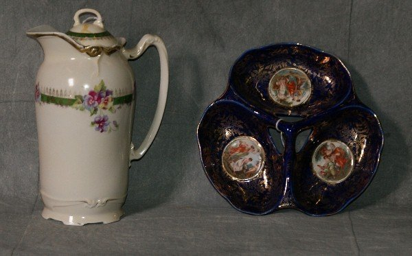 2 pieces of English porcelain, one candy dish and one p