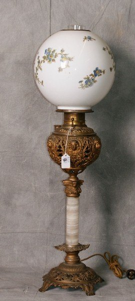 """Bronze hurricane lamp with puttis on relief. H:32"""""""